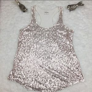 Express Racerback Gold Sequined Tank Size M